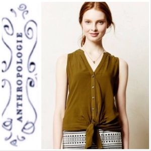 Maeve Ada Olive Green Button Down Sleeveless Top 0